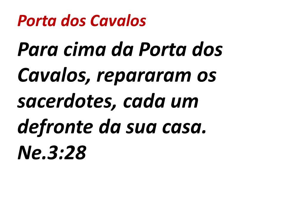 Porta dos Cavalos Para cima da Porta dos Cavalos, repararam os sacerdotes, cada um defronte da sua casa. Ne.3:28