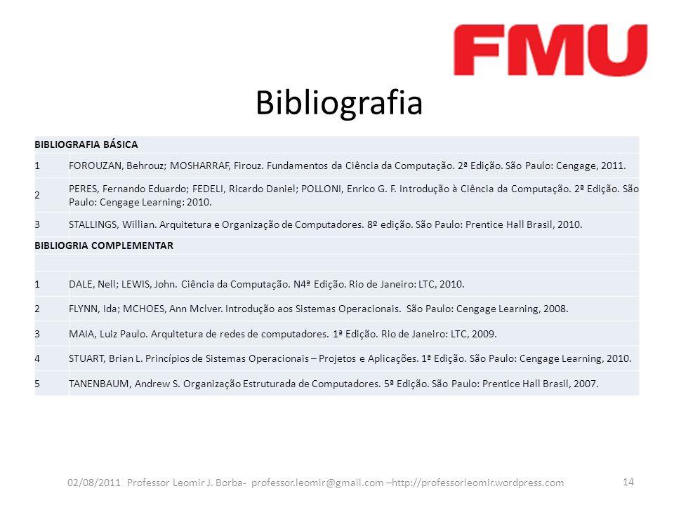 Bibliografia 02/08/2011 Professor Leomir J. Borba- professor.leomir@gmail.com –http://professorleomir.wordpress.com 14 BIBLIOGRAFIA BÁSICA 1FOROUZAN,