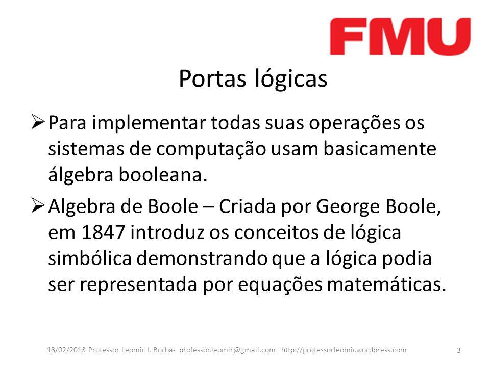 Portas lógicas Para implementar todas suas operações os sistemas de computação usam basicamente álgebra booleana. Algebra de Boole – Criada por George