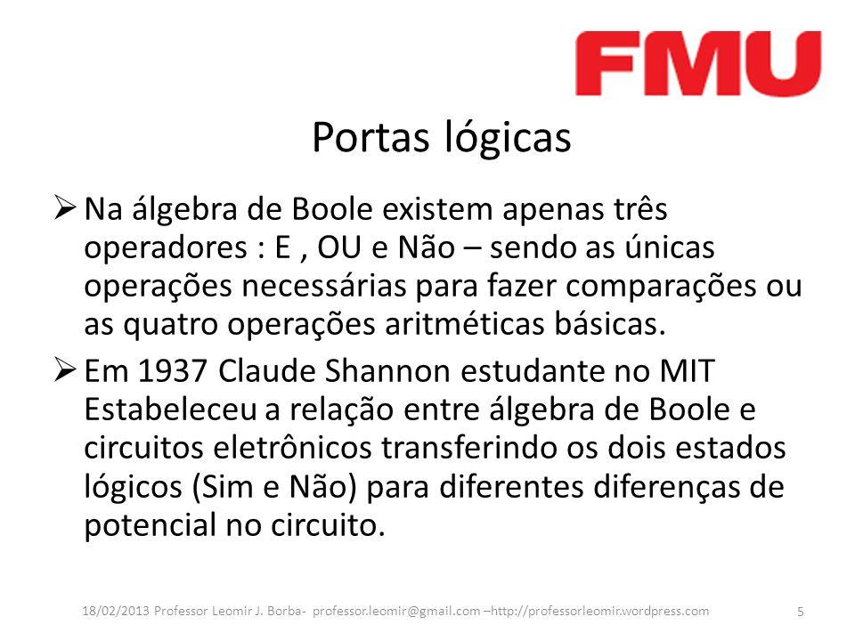 Portas lógicas Na álgebra de Boole existem apenas três operadores : E, OU e Não – sendo as únicas operações necessárias para fazer comparações ou as q