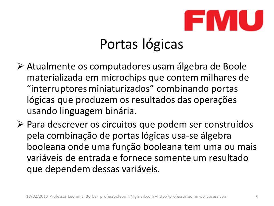 Portas lógicas Atualmente os computadores usam álgebra de Boole materializada em microchips que contem milhares de interruptores miniaturizados combin