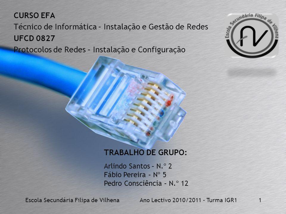 CURSO EFA Técnico de Informática – Instalação e Gestão de Redes UFCD 0827 Protocolos de Redes – Instalação e Configuração Escola Secundária Filipa de