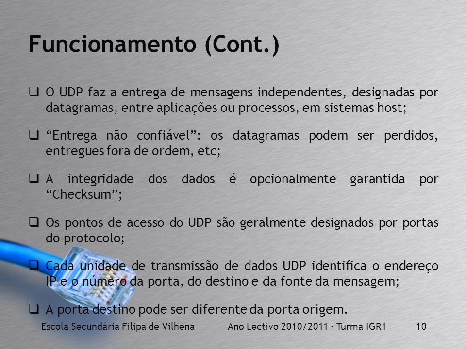 Funcionamento (Cont.) O UDP faz a entrega de mensagens independentes, designadas por datagramas, entre aplicações ou processos, em sistemas host; Entr