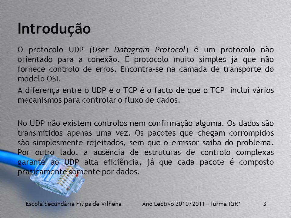 O protocolo UDP (User Datagram Protocol) é um protocolo não orientado para a conexão. É protocolo muito simples já que não fornece controlo de erros.