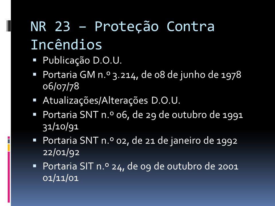 NR 23 – Proteção Contra Incêndios Publicação D.O.U. Portaria GM n.º 3.214, de 08 de junho de 1978 06/07/78 Atualizações/Alterações D.O.U. Portaria SNT