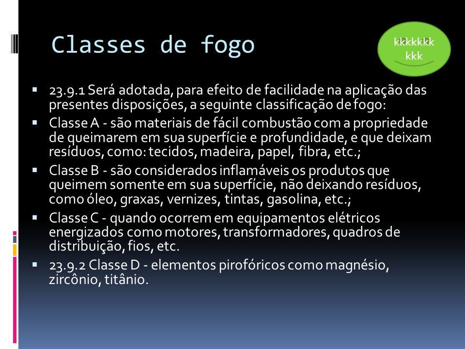 Classes de fogo 23.9.1 Será adotada, para efeito de facilidade na aplicação das presentes disposições, a seguinte classificação de fogo: Classe A - sã