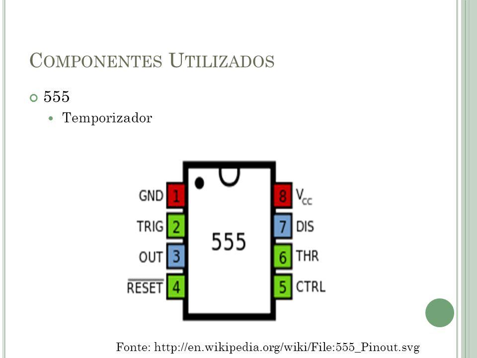 C OMPONENTES U TILIZADOS 555 Temporizador Fonte: http://en.wikipedia.org/wiki/File:555_Pinout.svg