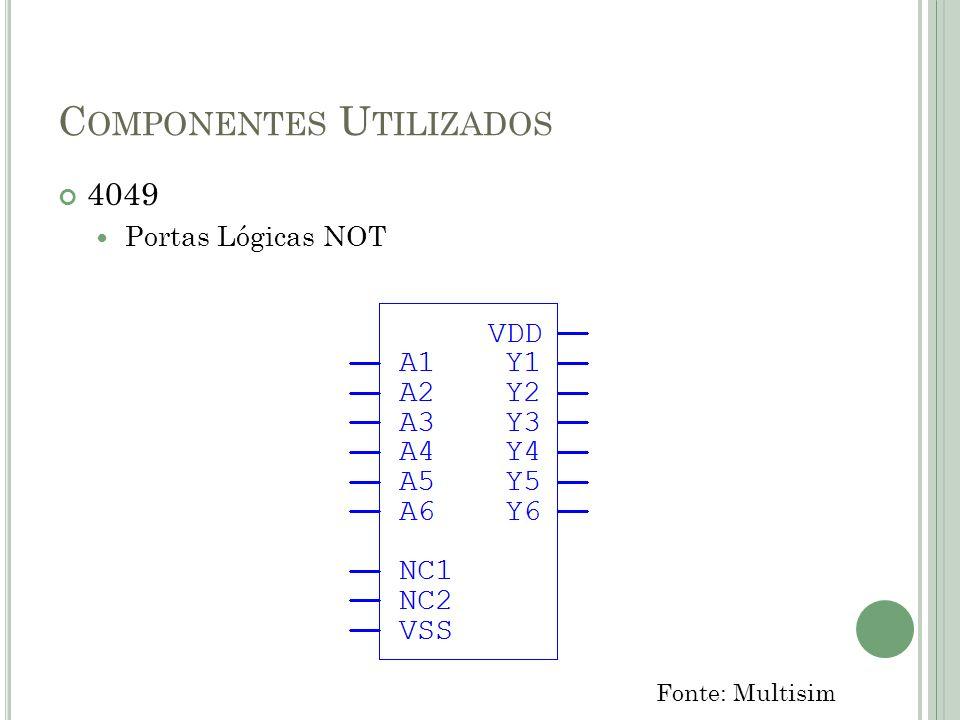 C OMPONENTES U TILIZADOS 40175 Flip-Flop Quádruplo Tipo D Fonte: Multisim