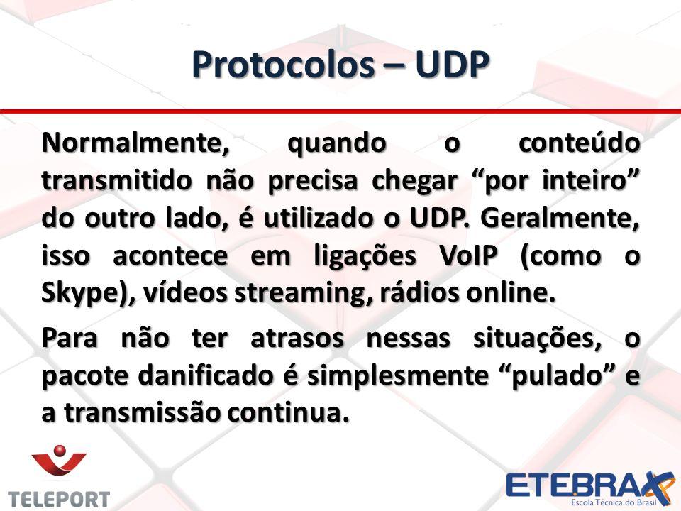 Protocolos – UDP Normalmente, quando o conteúdo transmitido não precisa chegar por inteiro do outro lado, é utilizado o UDP.