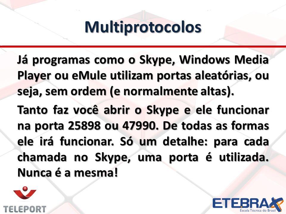 Multiprotocolos Já programas como o Skype, Windows Media Player ou eMule utilizam portas aleatórias, ou seja, sem ordem (e normalmente altas).