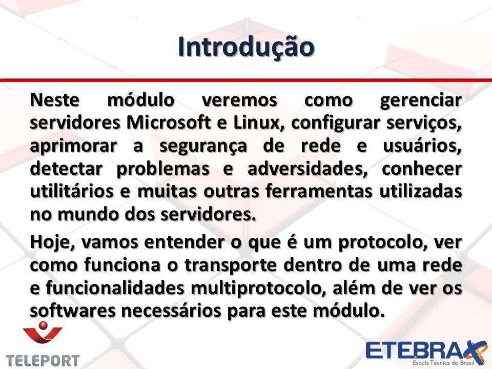 Introdução Neste módulo veremos como gerenciar servidores Microsoft e Linux, configurar serviços, aprimorar a segurança de rede e usuários, detectar problemas e adversidades, conhecer utilitários e muitas outras ferramentas utilizadas no mundo dos servidores.