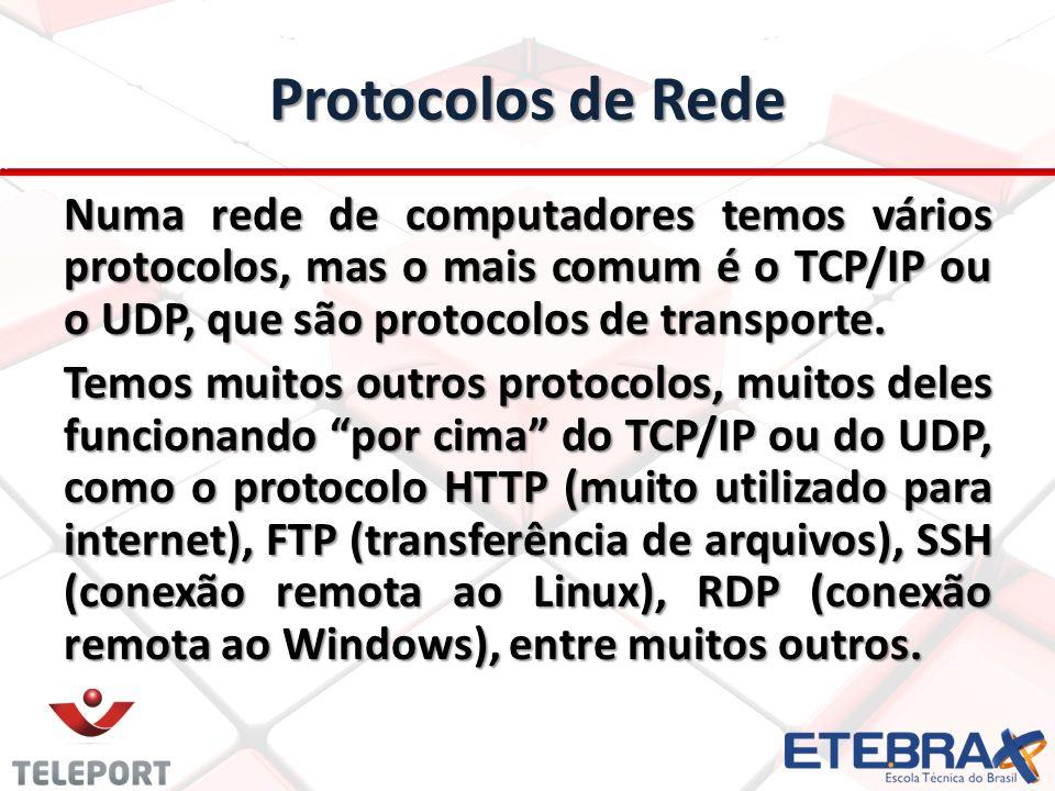 Protocolos de Rede Numa rede de computadores temos vários protocolos, mas o mais comum é o TCP/IP ou o UDP, que são protocolos de transporte.
