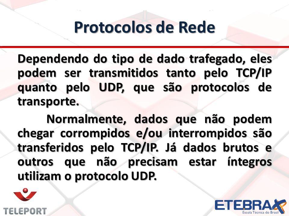 Protocolos de serviços Os protocolos mais comuns são: FTP – porta 21; FTP – porta 21; SSH – porta 22; SSH – porta 22; Telnet – porta 23; Telnet – porta 23; SMTP – porta 25; SMTP – porta 25; DNS – porta 53; DNS – porta 53; HTTP – porta 80; HTTP – porta 80; POP3 – porta 110; POP3 – porta 110; IMAP – porta 143; IMAP – porta 143; TLS/SSL – porta 443; TLS/SSL – porta 443; IRC – porta 6667; IRC – porta 6667; Obs.: programa como Skype ou uTorrent utilizam normalmente portas altas e aleatórias, ou seja, quase sempre qualquer porta entre 50000 e 65535.