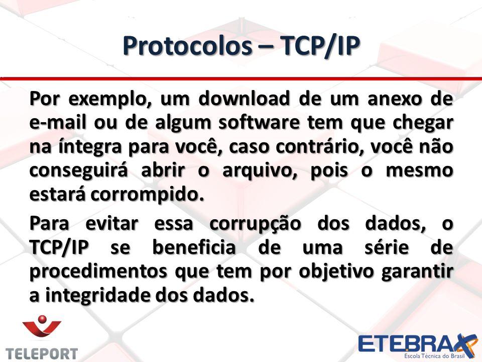 Protocolos e a internet Os protocolos mais comuns são: FTP – porta 21; FTP – porta 21; SSH – porta 22; SSH – porta 22; Telnet – porta 23; Telnet – porta 23; SMTP – porta 25; SMTP – porta 25; DNS – porta 53; DNS – porta 53; HTTP – porta 80; HTTP – porta 80; POP3 – porta 110; POP3 – porta 110; IMAP – porta 143; IMAP – porta 143; TLS/SSL – porta 443; TLS/SSL – porta 443; IRC – porta 6667; IRC – porta 6667; Obs.: programa como Skype ou uTorrent utilizam normalmente portas altas e aleatórias, ou seja, quase sempre qualquer porta entre 50000 e 65535.
