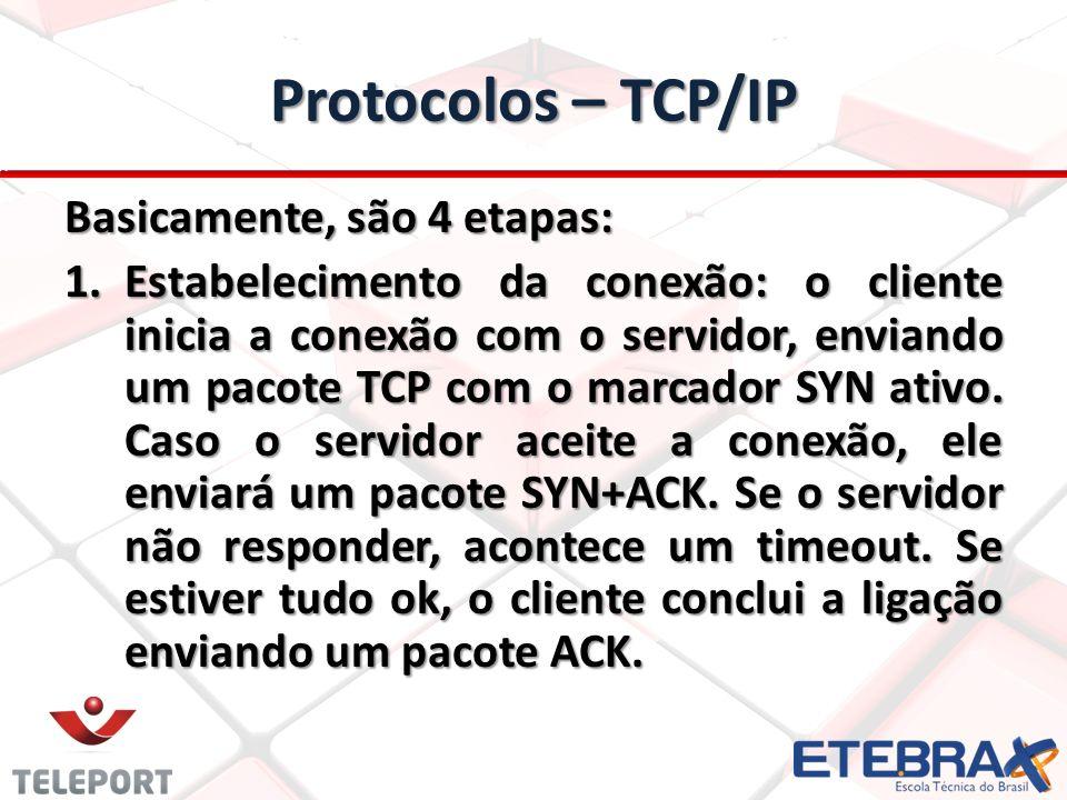 Protocolos – TCP/IP Basicamente, são 4 etapas: 1.Estabelecimento da conexão: o cliente inicia a conexão com o servidor, enviando um pacote TCP com o marcador SYN ativo.