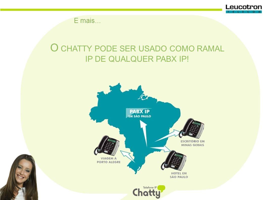 E mais... O CHATTY PODE SER USADO COMO RAMAL IP DE QUALQUER PABX IP!