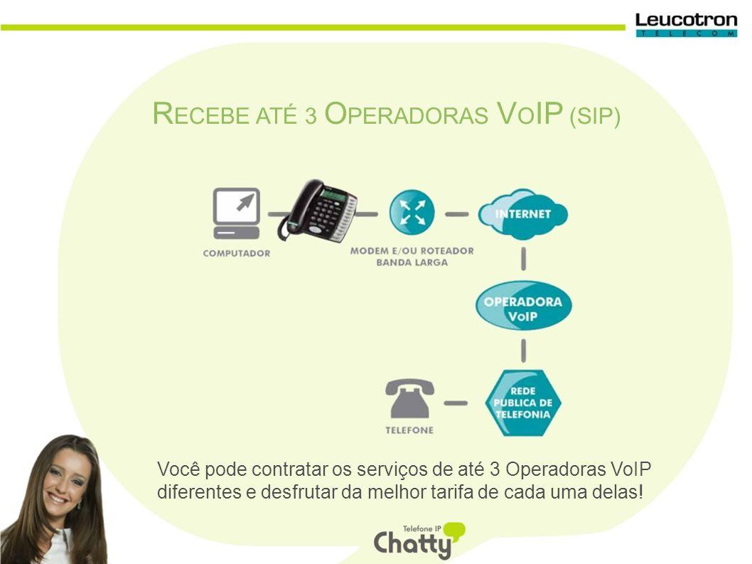 R ECEBE ATÉ 3 O PERADORAS V O IP (SIP) Você pode contratar os serviços de até 3 Operadoras VoIP diferentes e desfrutar da melhor tarifa de cada uma delas!