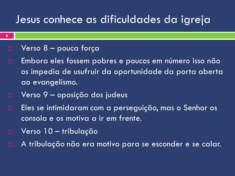 Jesus conhece as dificuldades da igreja Verso 8 – pouca força Embora eles fossem pobres e poucos em número isso não os impedia de usufruir da oportuni
