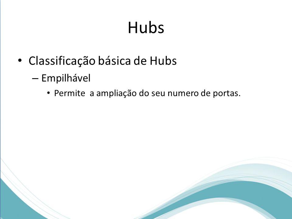 Hubs Classificação básica de Hubs – Empilhável Permite a ampliação do seu numero de portas.