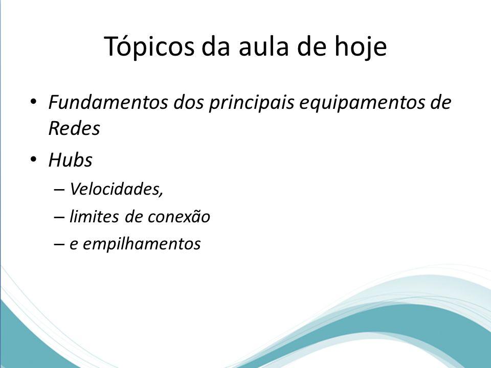 Tópicos da aula de hoje Fundamentos dos principais equipamentos de Redes Hubs – Velocidades, – limites de conexão – e empilhamentos