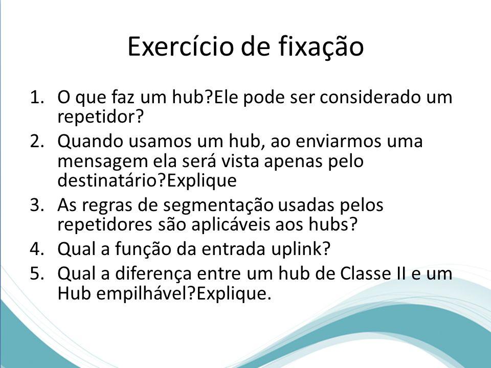 Exercício de fixação 1.O que faz um hub?Ele pode ser considerado um repetidor? 2.Quando usamos um hub, ao enviarmos uma mensagem ela será vista apenas