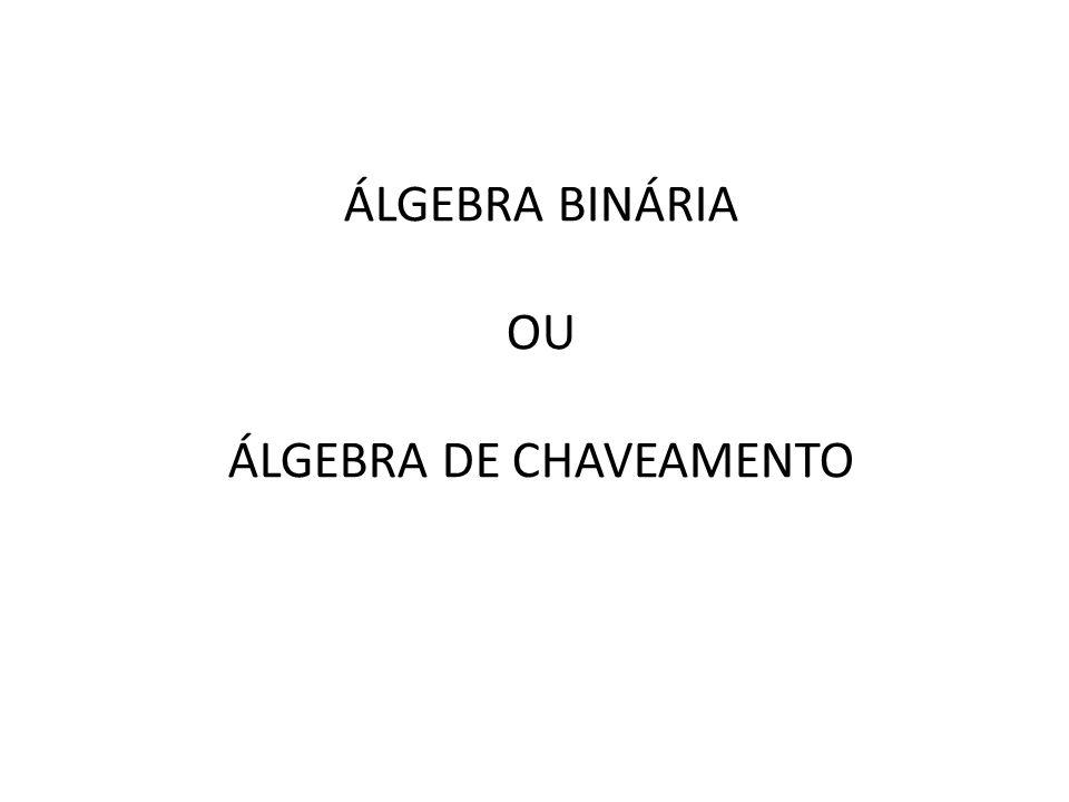ÁLGEBRA BINÁRIA OU DE CHAVEAMENTO Em 1854, George Boole introduziu o formalismo que até hoje se usa para o tratamento sistemático da lógica, que é a chamada Álgebra Booleana.
