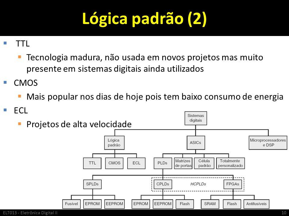 Lógica padrão (2) TTL Tecnologia madura, não usada em novos projetos mas muito presente em sistemas digitais ainda utilizados CMOS Mais popular nos di
