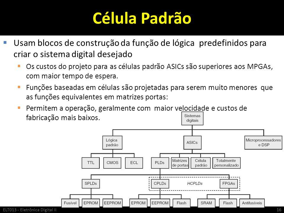 Célula Padrão Usam blocos de construção da função de lógica predefinidos para criar o sistema digital desejado Os custos do projeto para as células pa