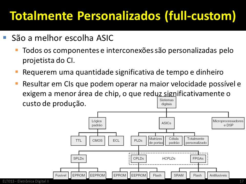 Totalmente Personalizados (full-custom) São a melhor escolha ASIC Todos os componentes e interconexões são personalizadas pelo projetista do CI. Reque