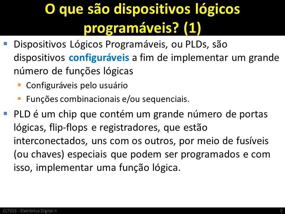 O que são dispositivos lógicos programáveis? (1) Dispositivos Lógicos Programáveis, ou PLDs, são dispositivos configuráveis a fim de implementar um gr