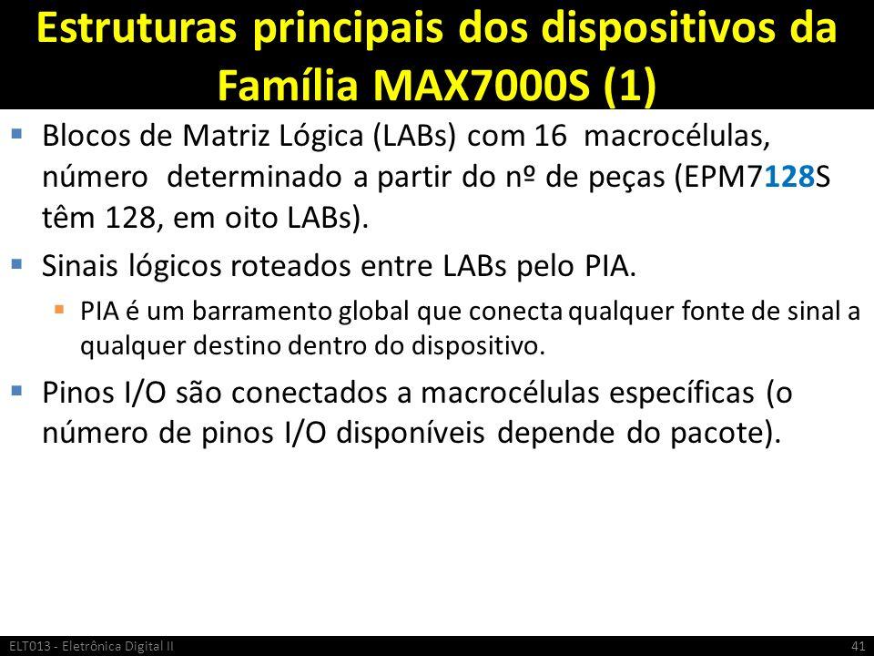 Estruturas principais dos dispositivos da Família MAX7000S (1) Blocos de Matriz Lógica (LABs) com 16 macrocélulas, número determinado a partir do nº d