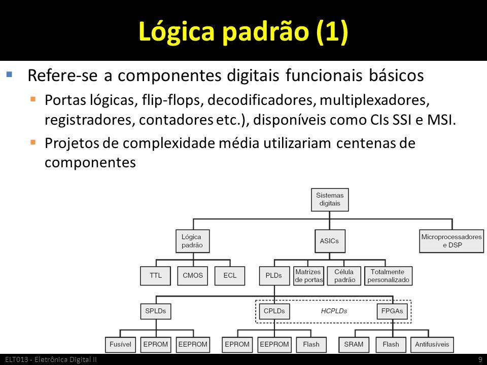 Lógica padrão (1) Refere-se a componentes digitais funcionais básicos Portas lógicas, flip-flops, decodificadores, multiplexadores, registradores, con