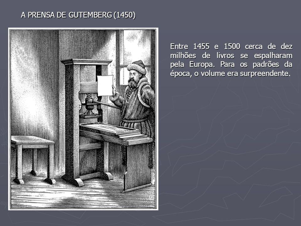 A PRENSA DE GUTEMBERG (1450) Entre 1455 e 1500 cerca de dez milhões de livros se espalharam pela Europa. Para os padrões da época, o volume era surpre