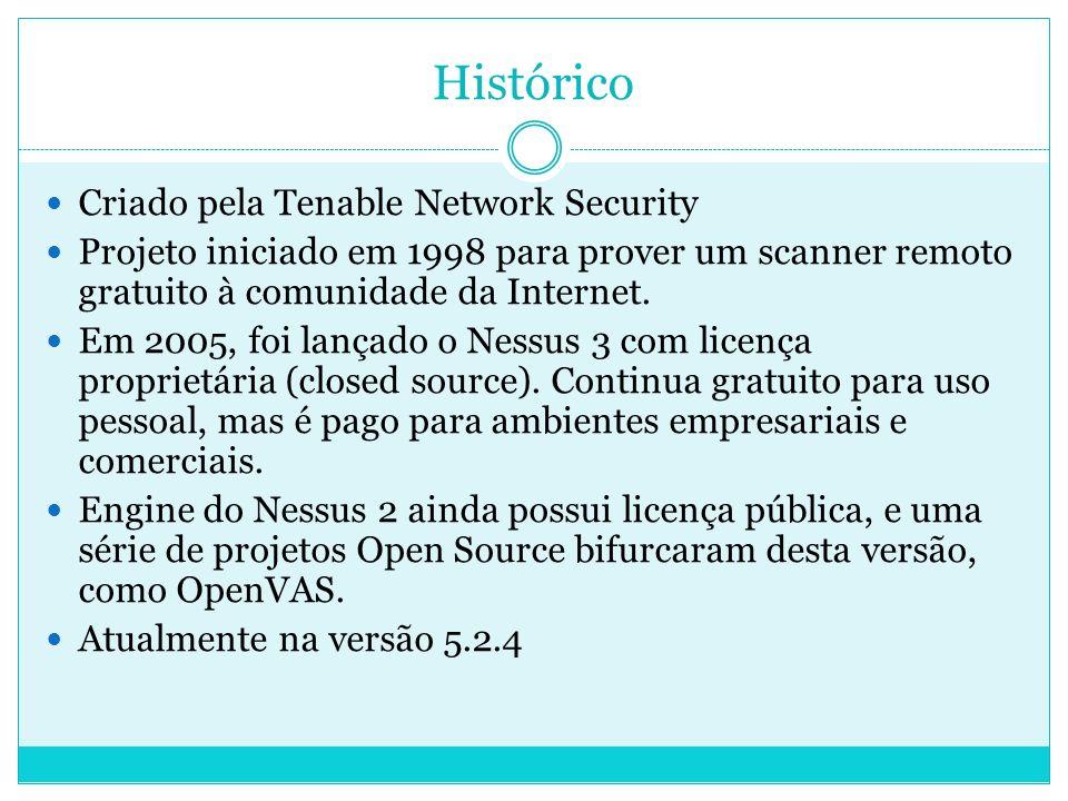 Histórico Criado pela Tenable Network Security Projeto iniciado em 1998 para prover um scanner remoto gratuito à comunidade da Internet.