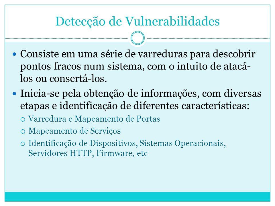 Detecção de Vulnerabilidades Consiste em uma série de varreduras para descobrir pontos fracos num sistema, com o intuito de atacá- los ou consertá-los.