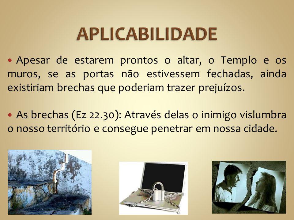 Apesar de estarem prontos o altar, o Templo e os muros, se as portas não estivessem fechadas, ainda existiriam brechas que poderiam trazer prejuízos.