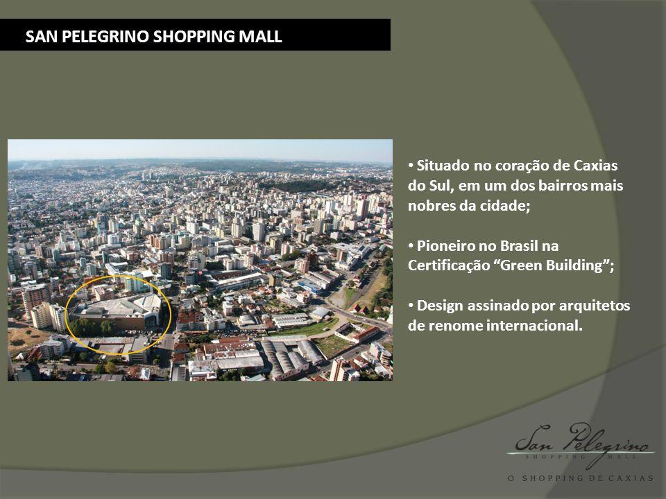 SAN PELEGRINO SHOPPING MALL Situado no coração de Caxias do Sul, em um dos bairros mais nobres da cidade; Pioneiro no Brasil na Certificação Green Bui