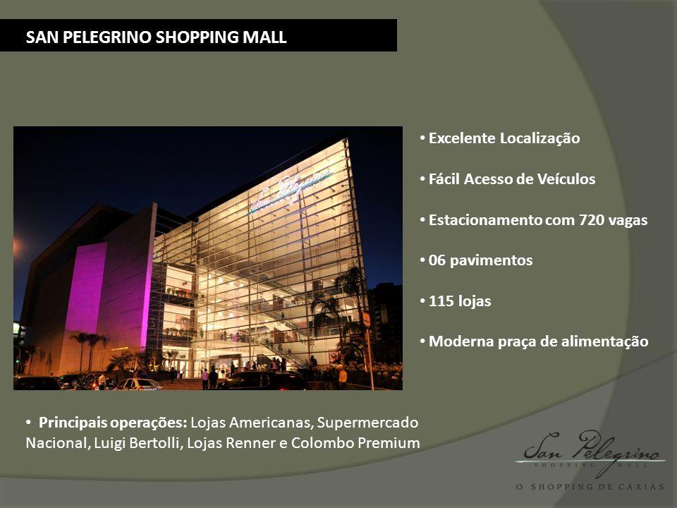 SAN PELEGRINO SHOPPING MALL Excelente Localização Fácil Acesso de Veículos Estacionamento com 720 vagas 06 pavimentos 115 lojas Moderna praça de alime
