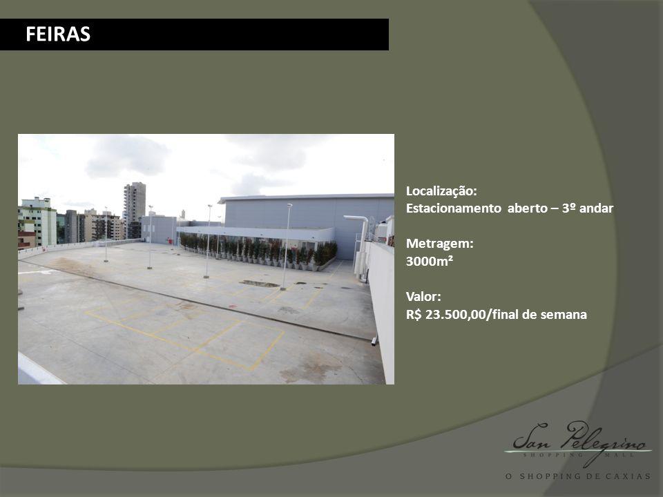 BANNER AÉREO Quantidade: 4 pontos Localização: Clarabóia corredor principal e secundário Metragem: A combinar Material: Banner duplo em tecido Valor: A combinar