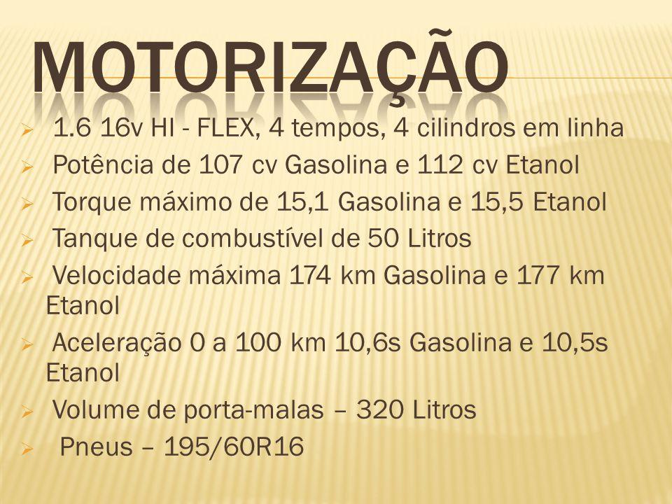 1.6 16v HI - FLEX, 4 tempos, 4 cilindros em linha Potência de 107 cv Gasolina e 112 cv Etanol Torque máximo de 15,1 Gasolina e 15,5 Etanol Tanque de c
