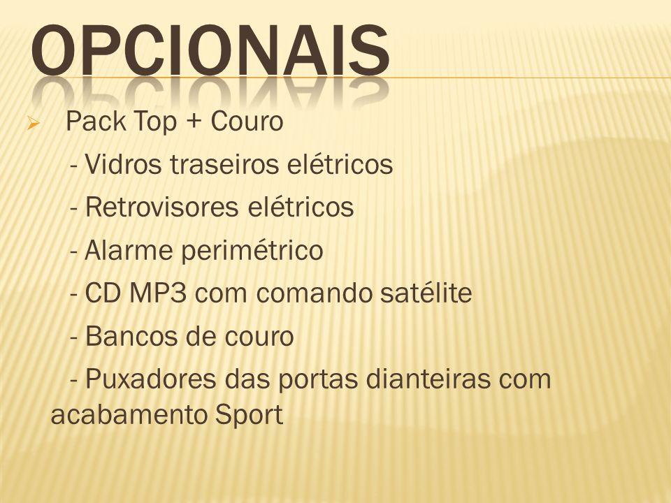 Pack Top + Couro - Vidros traseiros elétricos - Retrovisores elétricos - Alarme perimétrico - CD MP3 com comando satélite - Bancos de couro - Puxadore