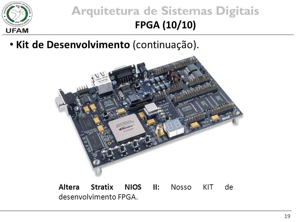 19 Kit de Desenvolvimento (continuação). Arquitetura de Sistemas Digitais FPGA (10/10) Altera Stratix NIOS II: Nosso KIT de desenvolvimento FPGA.