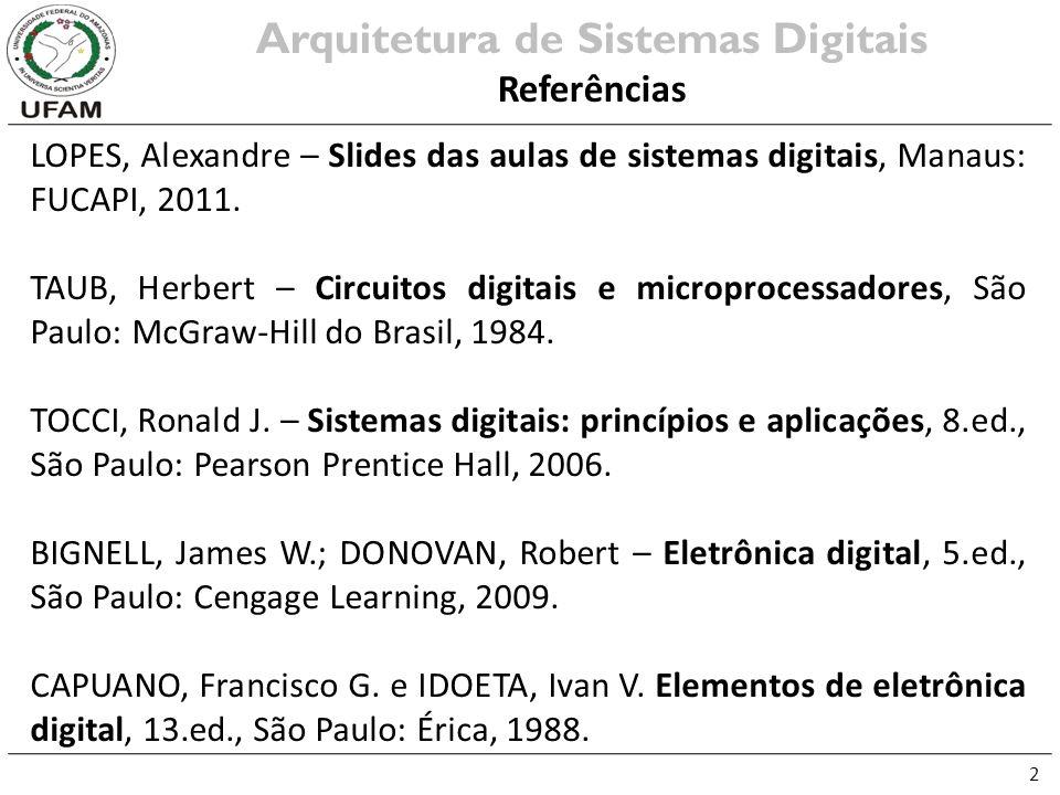2 LOPES, Alexandre – Slides das aulas de sistemas digitais, Manaus: FUCAPI, 2011. TAUB, Herbert – Circuitos digitais e microprocessadores, São Paulo: