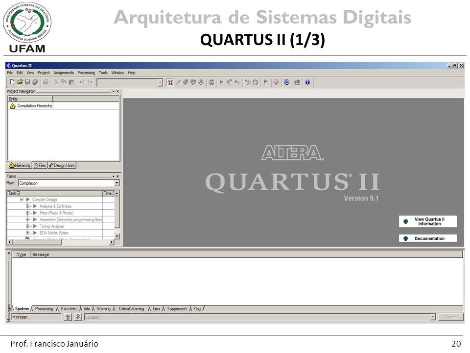 20 Arquitetura de Sistemas Digitais QUARTUS II (1/3) Prof. Francisco Januário