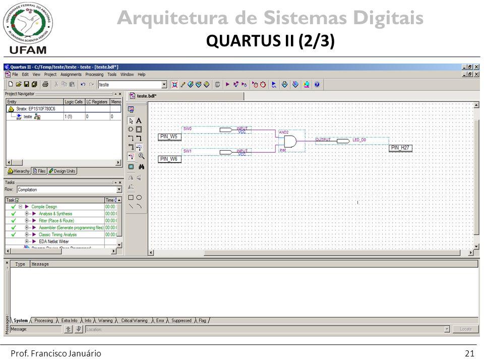 21 Arquitetura de Sistemas Digitais QUARTUS II (2/3) Prof. Francisco Januário