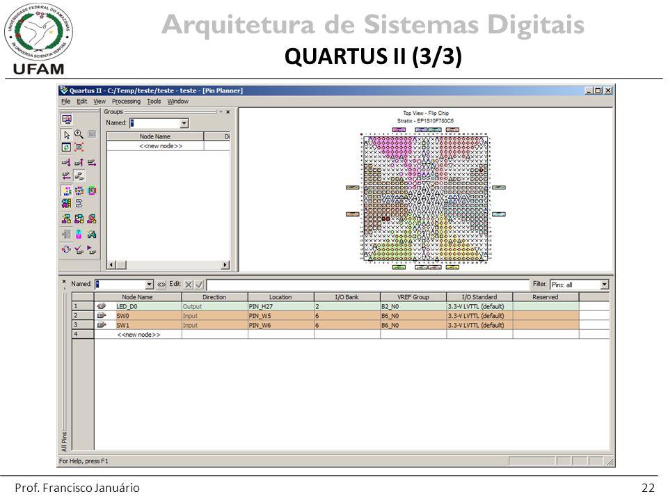 22 Arquitetura de Sistemas Digitais QUARTUS II (3/3) Prof. Francisco Januário