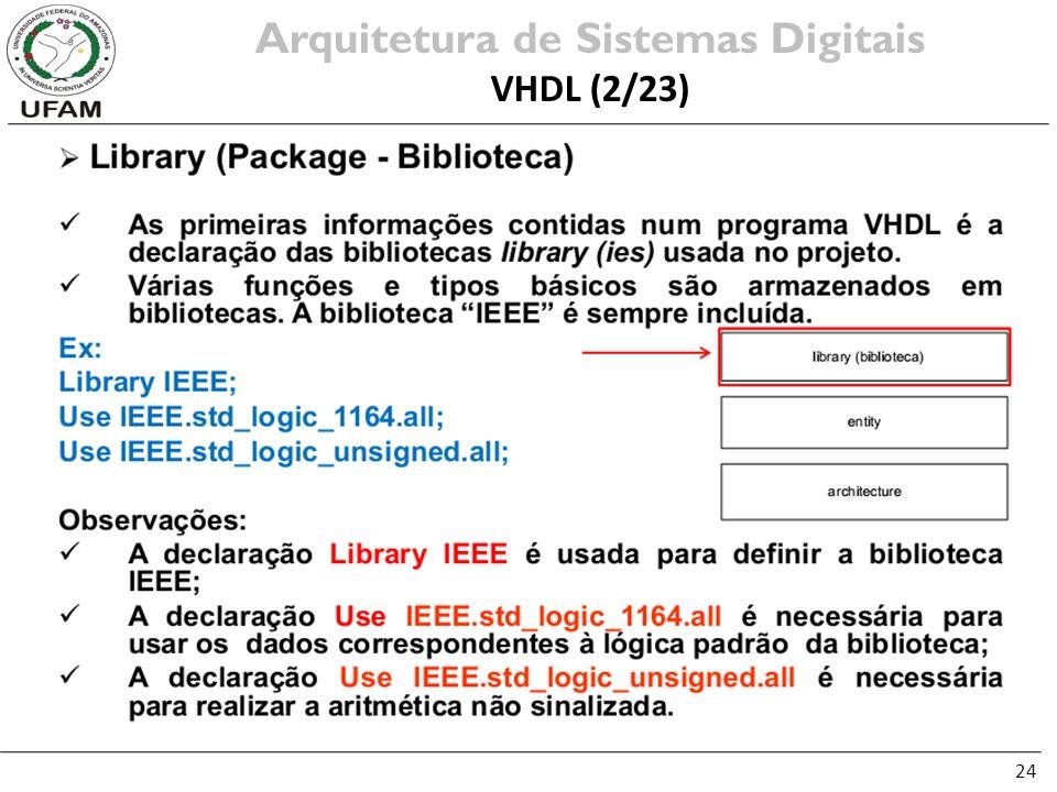 24 Arquitetura de Sistemas Digitais VHDL (2/23)