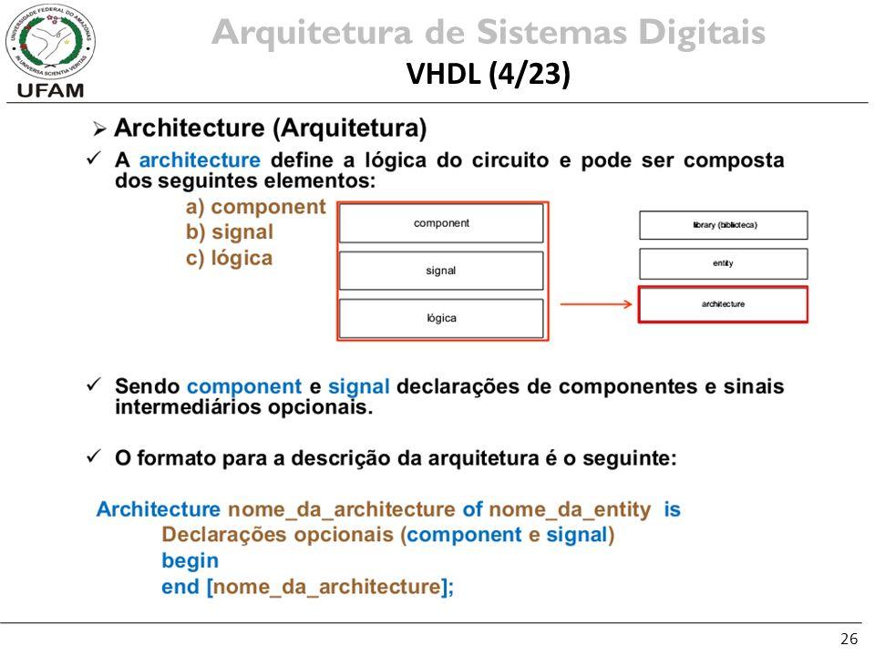 26 Arquitetura de Sistemas Digitais VHDL (4/23)