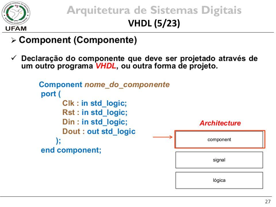 27 Arquitetura de Sistemas Digitais VHDL (5/23)