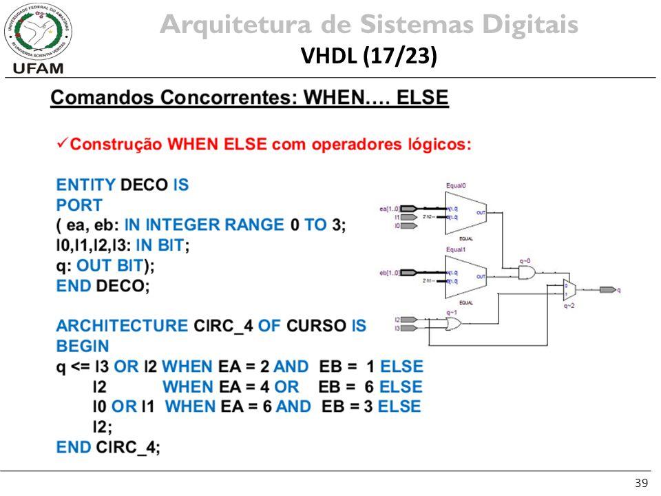 39 Arquitetura de Sistemas Digitais VHDL (17/23)